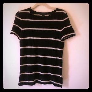 Saks Cashmere Striped Short Sleeved Sweater